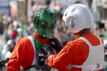 Alderaan Base players Jim Gillepsie adjusts TK Travis's bow tie during the annual St. Patrick's Day parade in South Boston, Sunday, March 17, 2013. PHOTO BY ERIN BALDASSARI/BOSTON METRO.