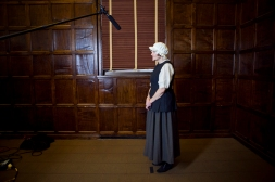 "03/30/2014 - Medford/Somerville, MA - Award-winning screenplay writer Jennifer Burton directs ""Mercy Otis Warren"" in ""Half the History"" inside Crane Hall at Tufts University. (Erin Baldassari for Tufts University)"
