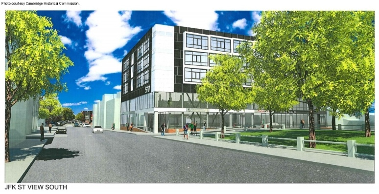 A rendering of the proposed 40-apartment addition to the existing building at 56 JFK St. in Harvard Square. Photo courtesy Cambridge Historical Commission.