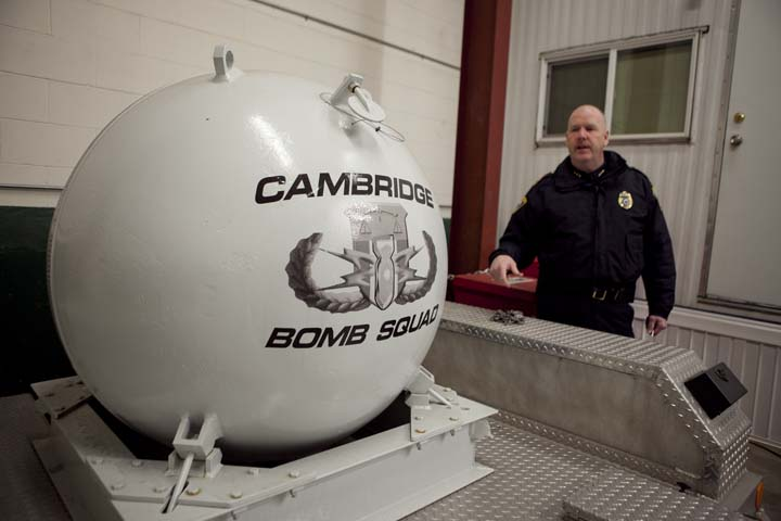 Cambridge Police Deputy Superintendent Steve Ahern shows off the device used to detonate explosives found in Watertown after Boston Marathon bombing suspects Dzhokhar and Tamerlan Tsarnaev engaged in a shoot-out with police, Friday, Jan. 31, 2014. Photo by Erin Baldassari/Wicked Local Cambridge.