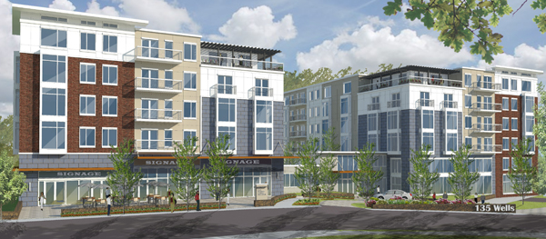 A rendering of the Wells Avenue office park in Newton, where Cabot, Cabot & Forbes has proposed 334 apartment units. Courtesy photo/Banker & Tradesman.
