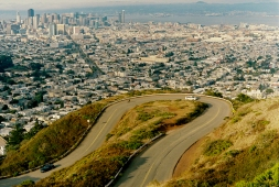 Looking out over the winding road to Twin Peaks.