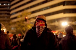 Demonstrators returned to Frank Ogawa Square after shutting down I-880 and West Oakland BART service during the third night of protests in Oakland against a New York grand jury's decision not to indict a white police officer in the chokehold death of Eric Garner, Friday, Dec. 5, 2014.